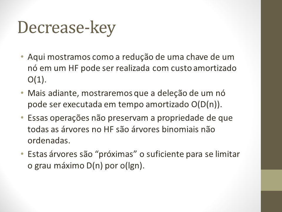 Decrease-key Aqui mostramos como a redução de uma chave de um nó em um HF pode ser realizada com custo amortizado O(1).