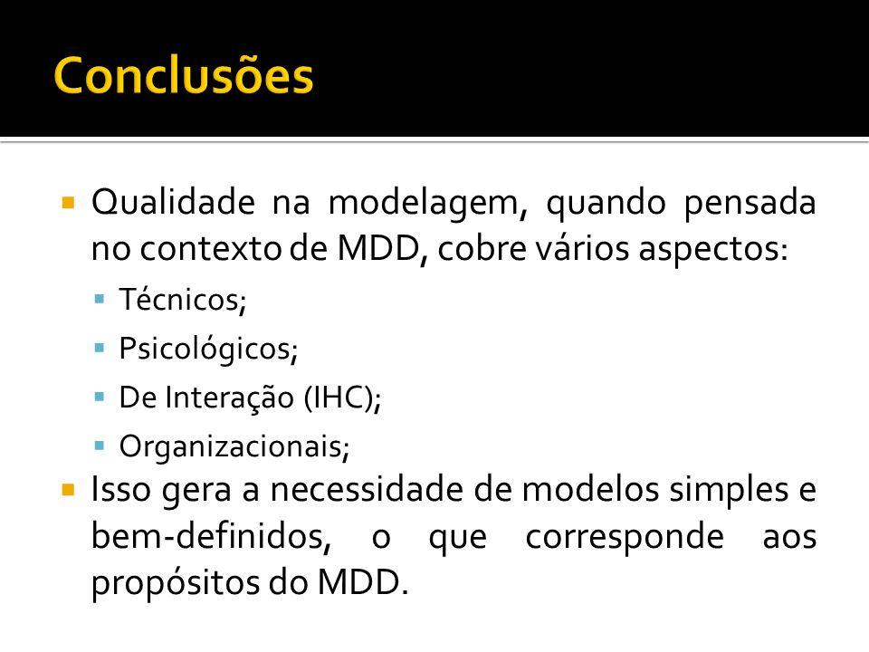 Conclusões Qualidade na modelagem, quando pensada no contexto de MDD, cobre vários aspectos: Técnicos;