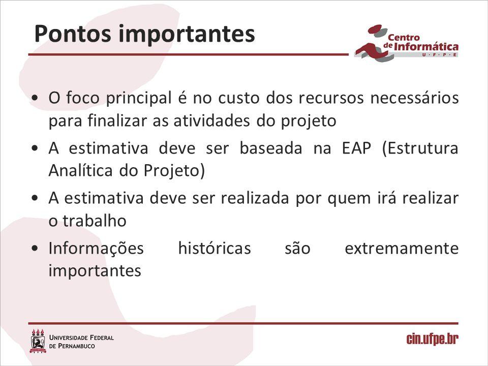 Pontos importantes O foco principal é no custo dos recursos necessários para finalizar as atividades do projeto.