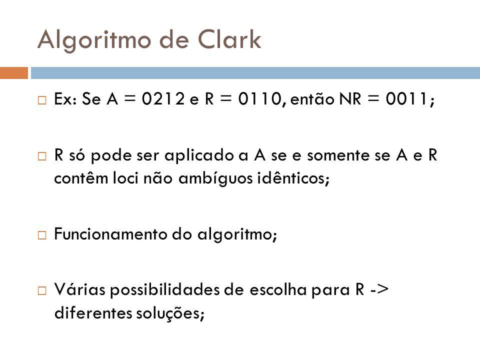 Algoritmo de Clark Ex: Se A = 0212 e R = 0110, então NR = 0011;