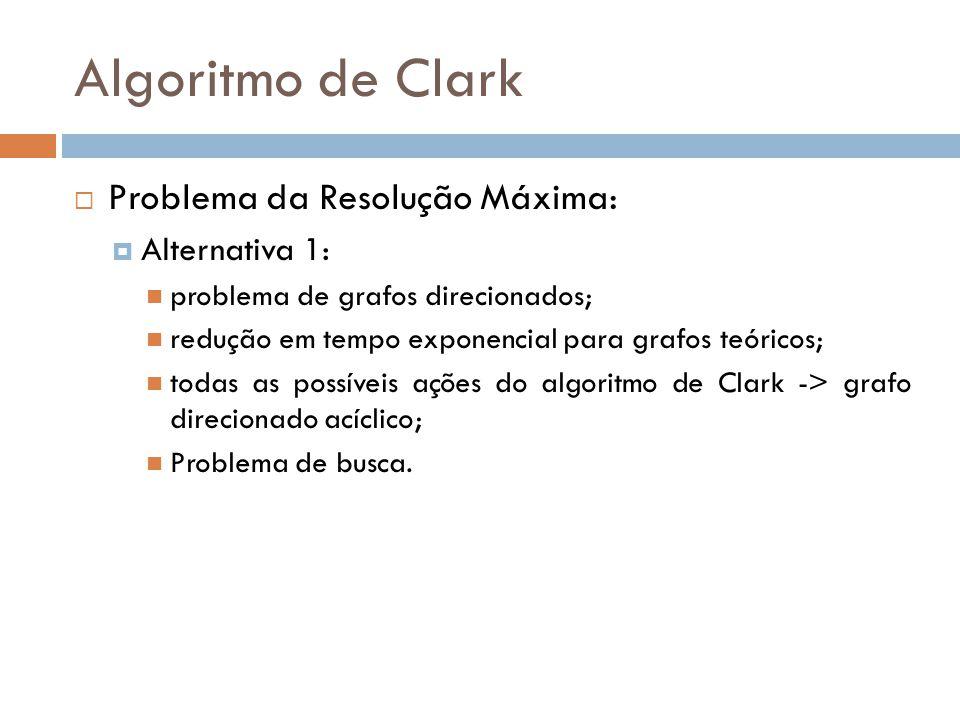 Algoritmo de Clark Problema da Resolução Máxima: Alternativa 1: