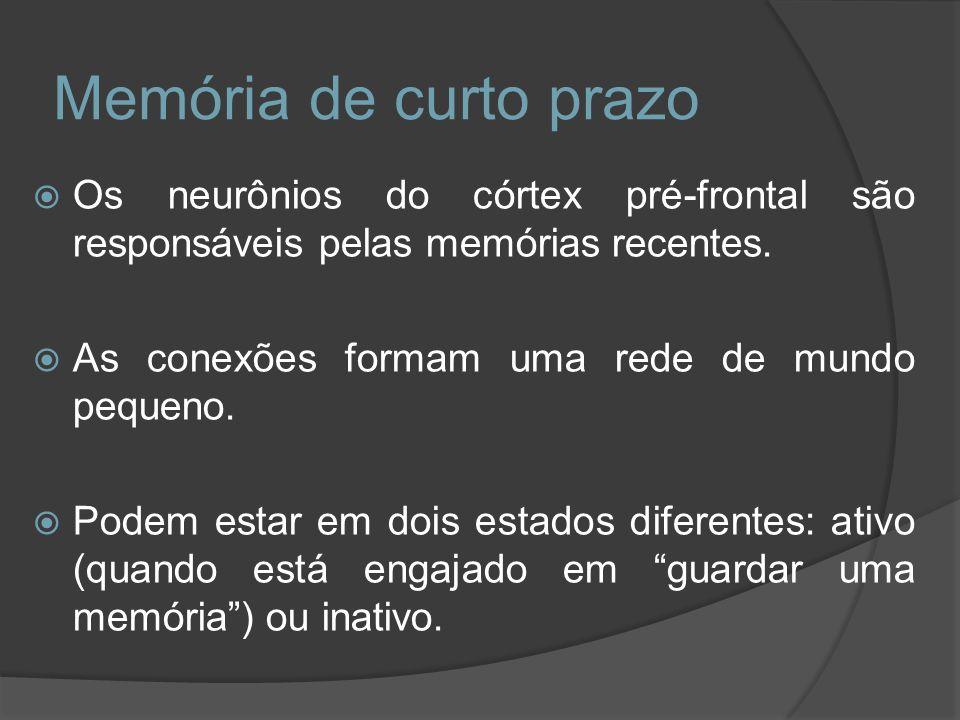 Memória de curto prazo Os neurônios do córtex pré-frontal são responsáveis pelas memórias recentes.
