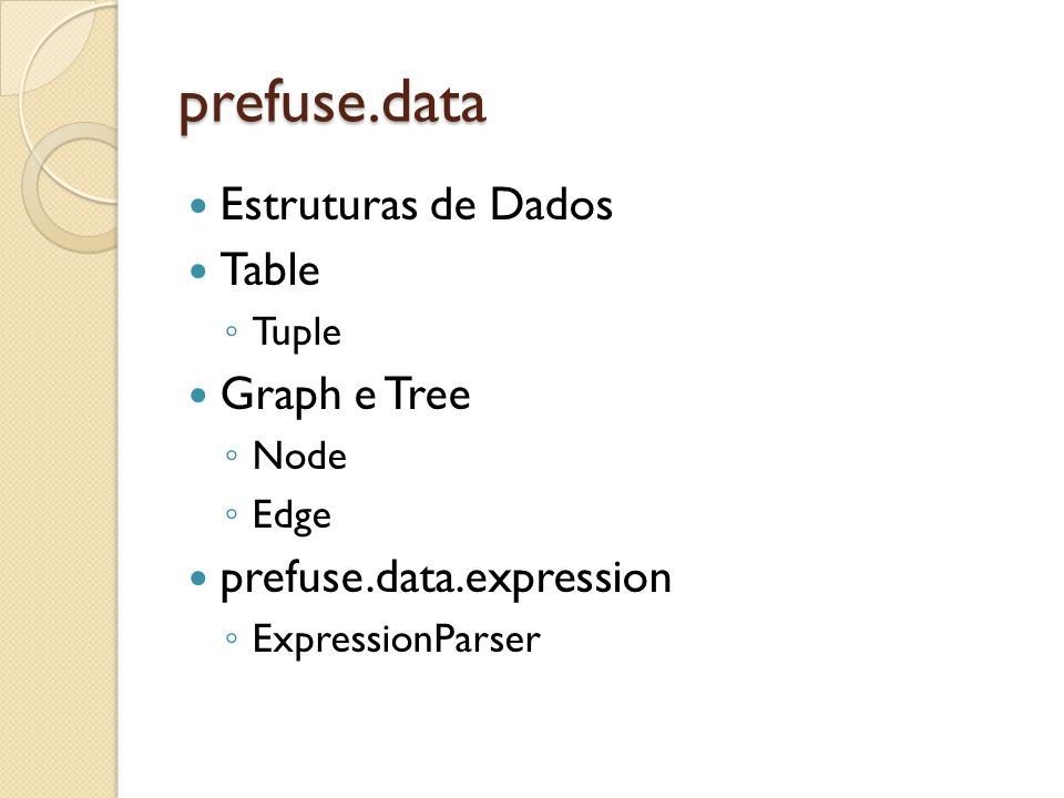 prefuse.data Estruturas de Dados Table Graph e Tree