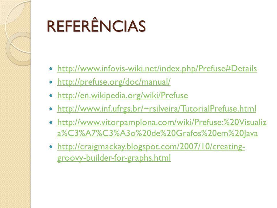 REFERÊNCIAS http://www.infovis-wiki.net/index.php/Prefuse#Details