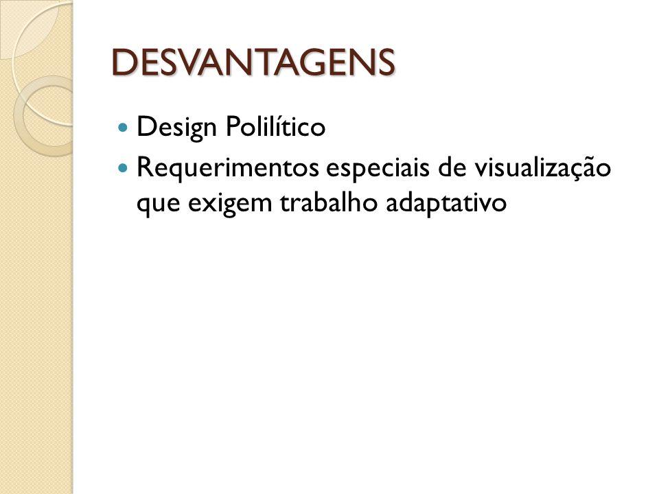 DESVANTAGENS Design Polilítico
