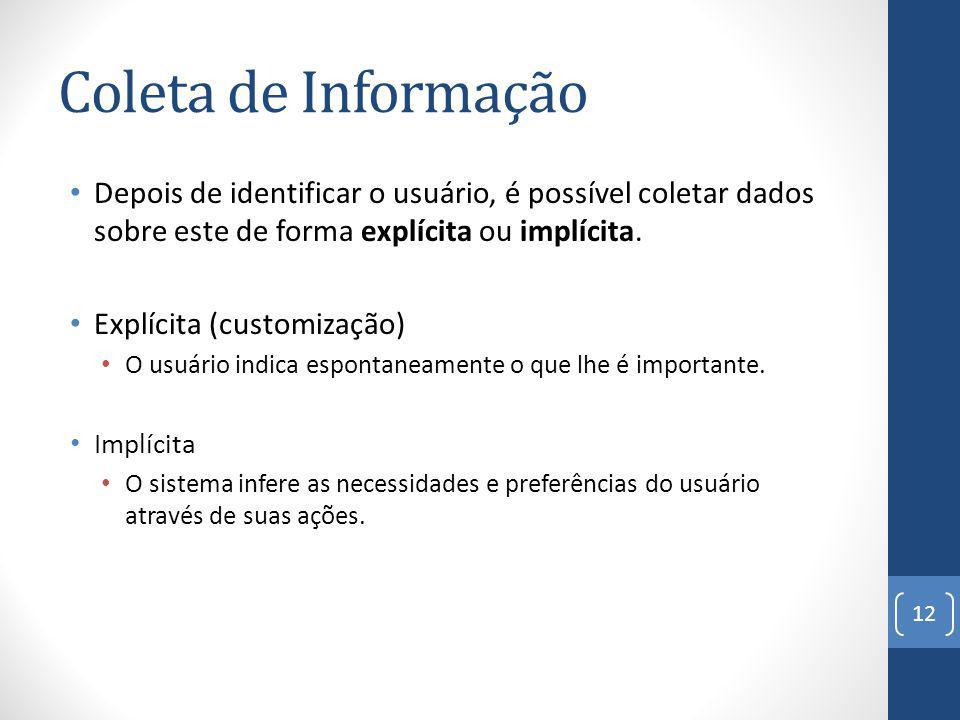 Coleta de Informação Depois de identificar o usuário, é possível coletar dados sobre este de forma explícita ou implícita.