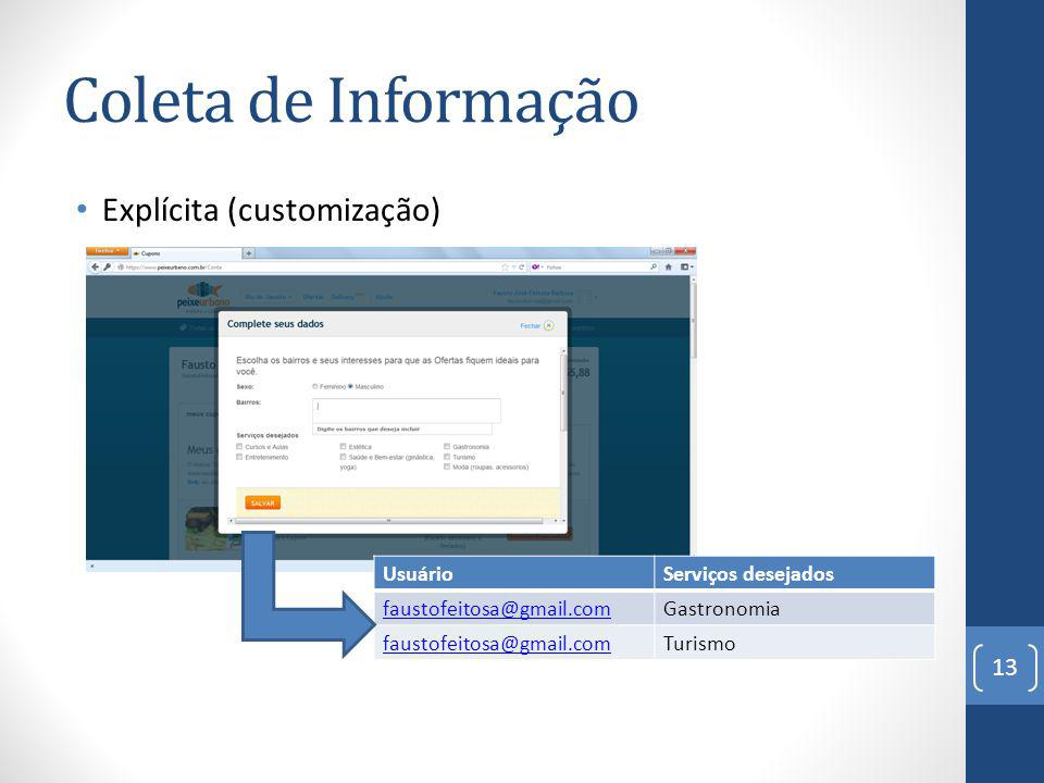 Coleta de Informação Explícita (customização) Usuário