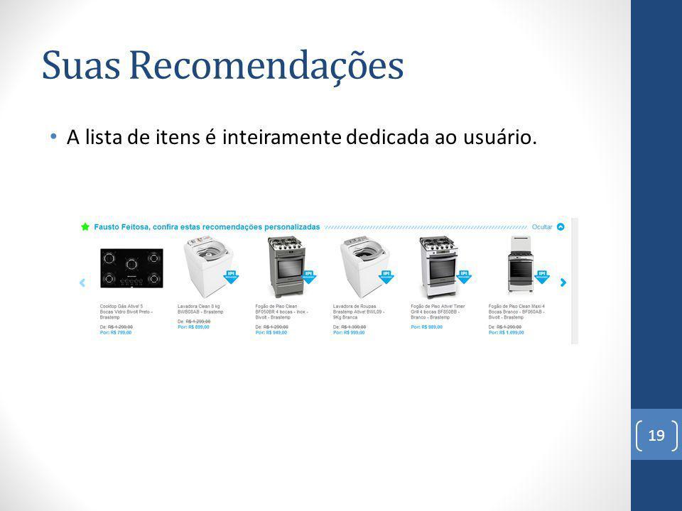 Suas Recomendações A lista de itens é inteiramente dedicada ao usuário.