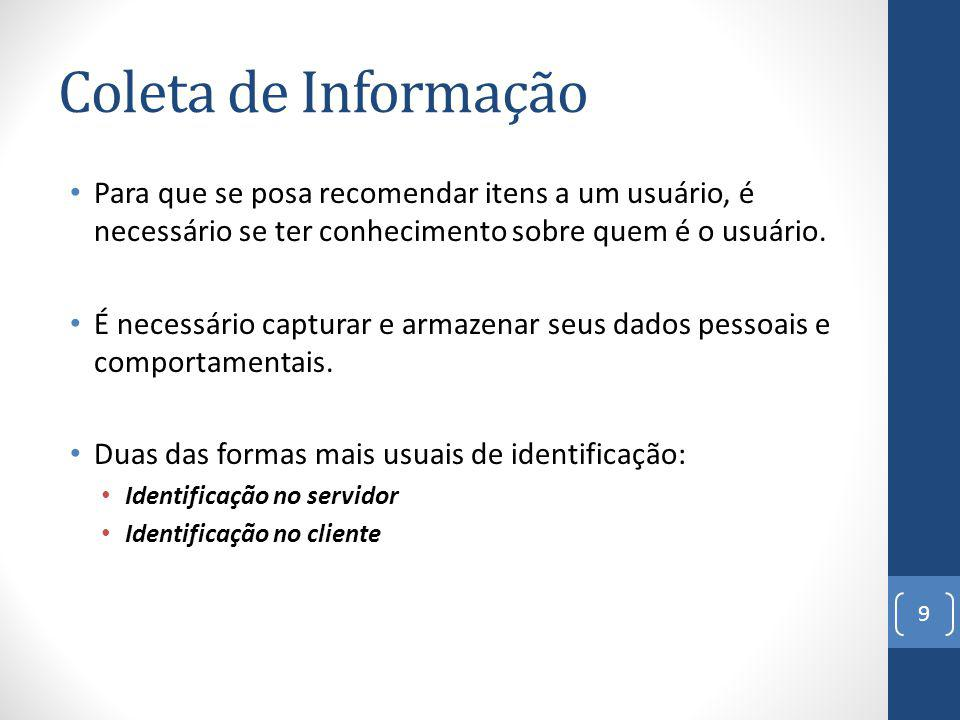 Coleta de Informação Para que se posa recomendar itens a um usuário, é necessário se ter conhecimento sobre quem é o usuário.