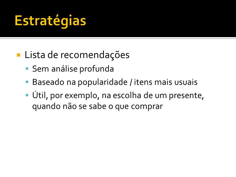 Estratégias Lista de recomendações Sem análise profunda
