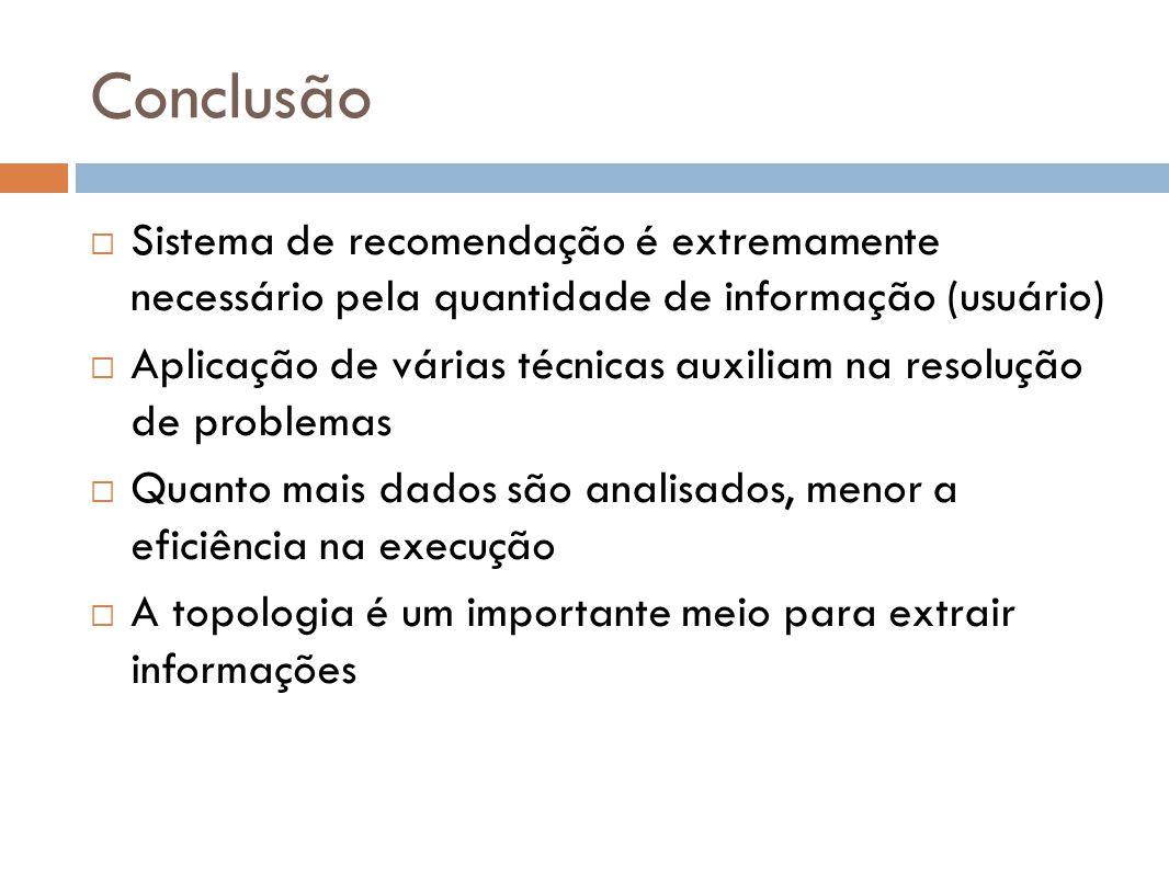 Conclusão Sistema de recomendação é extremamente necessário pela quantidade de informação (usuário)