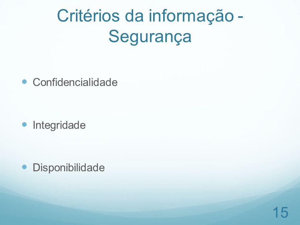 Critérios da informação - Segurança