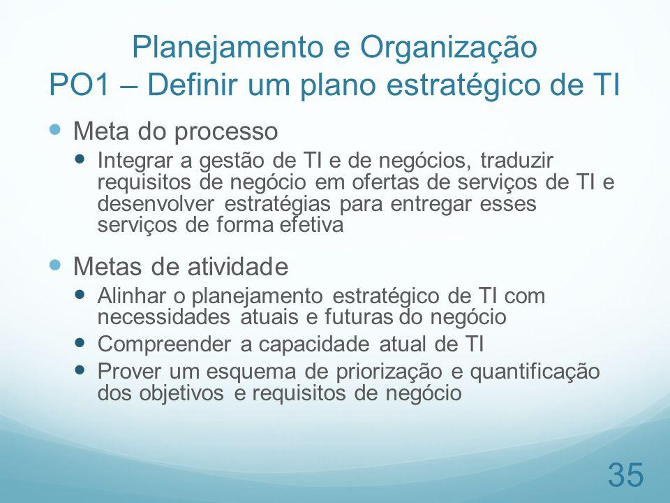 Planejamento e Organização PO1 – Definir um plano estratégico de TI