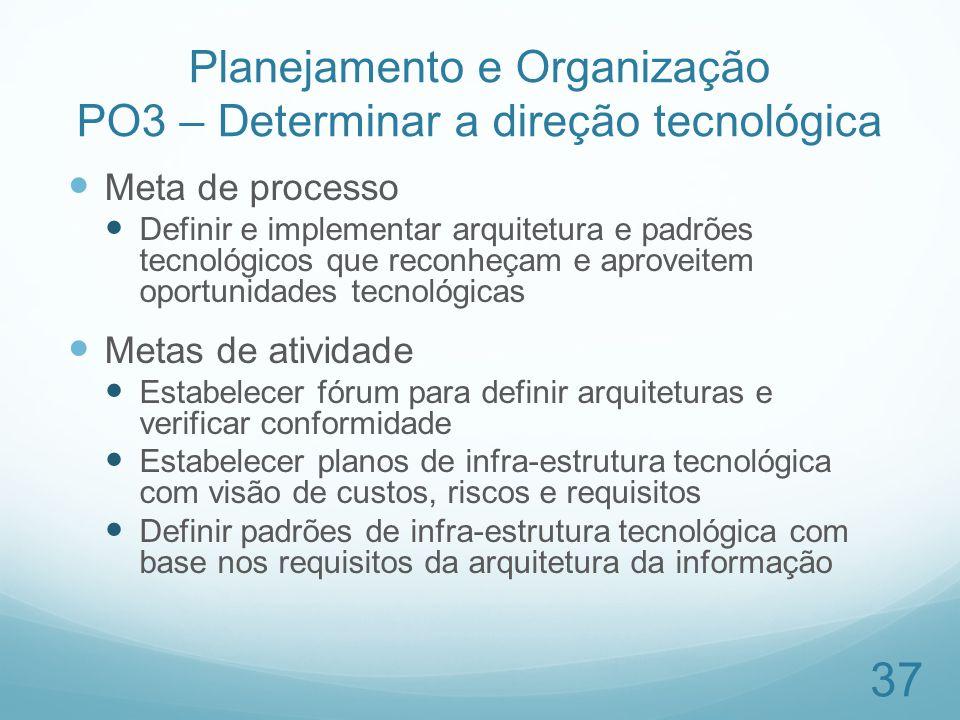 Planejamento e Organização PO3 – Determinar a direção tecnológica