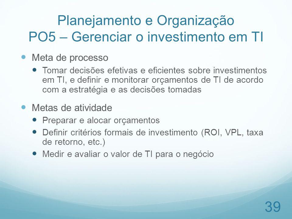 Planejamento e Organização PO5 – Gerenciar o investimento em TI