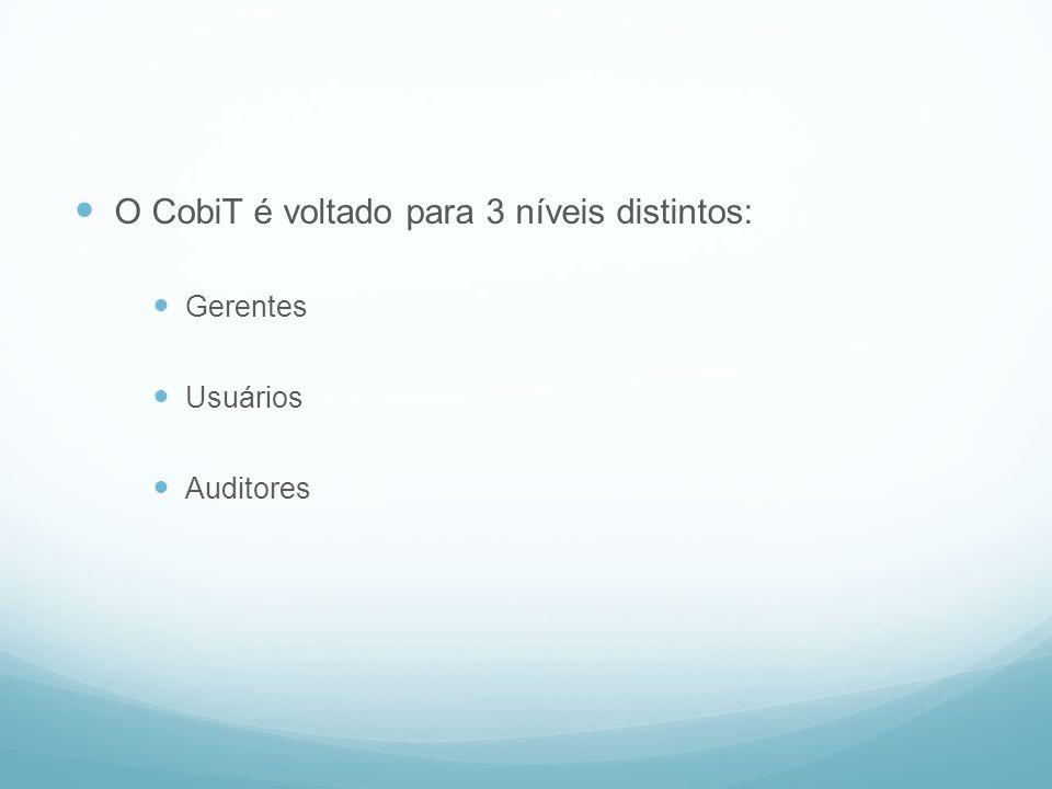 O CobiT é voltado para 3 níveis distintos: