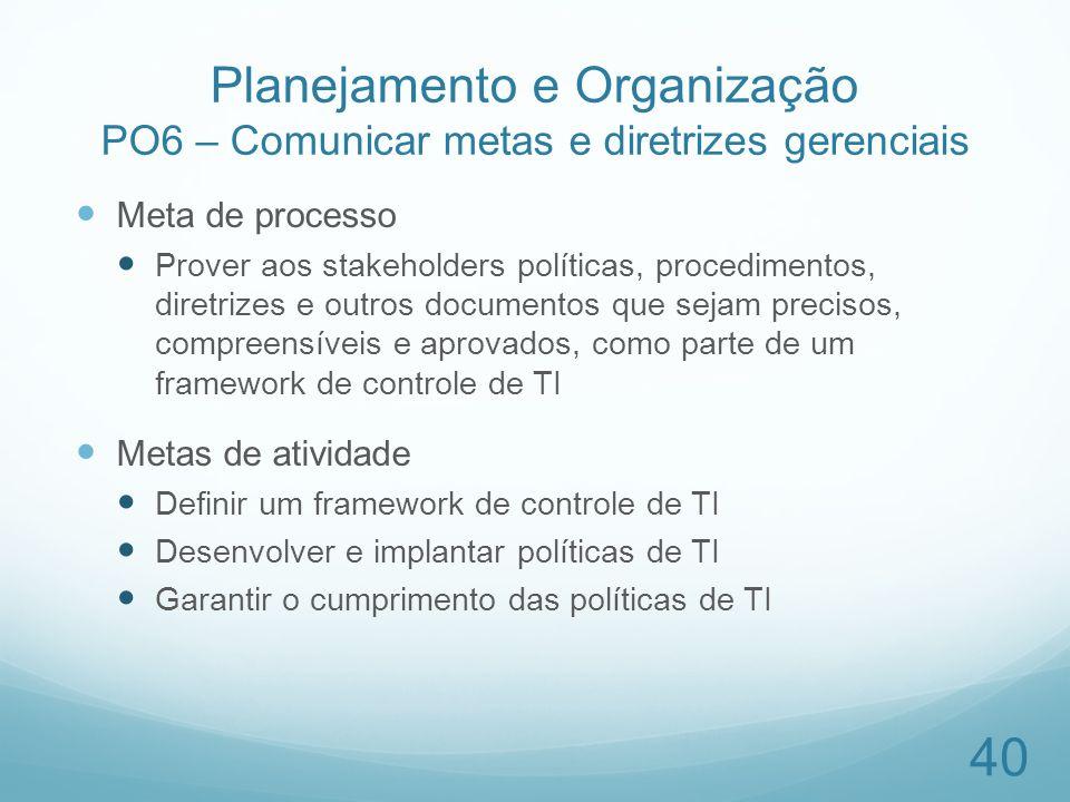 Planejamento e Organização PO6 – Comunicar metas e diretrizes gerenciais