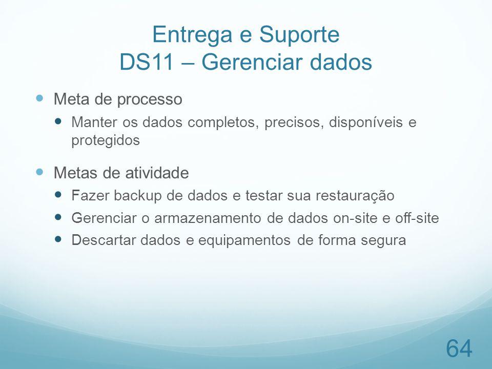 Entrega e Suporte DS11 – Gerenciar dados