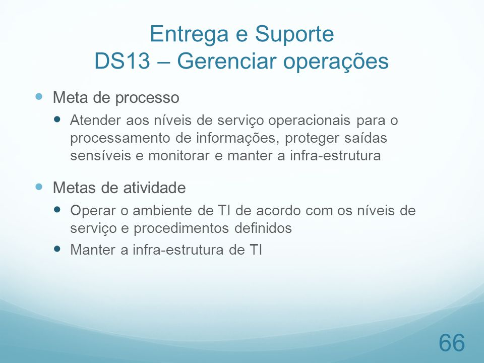 Entrega e Suporte DS13 – Gerenciar operações