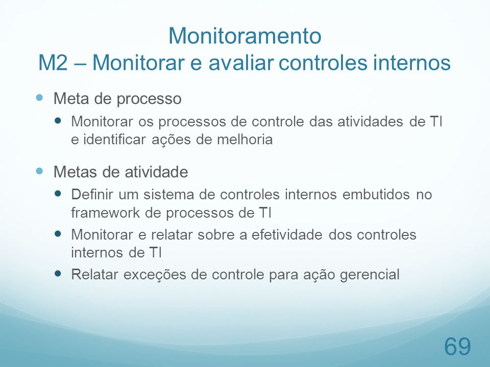 Monitoramento M2 – Monitorar e avaliar controles internos