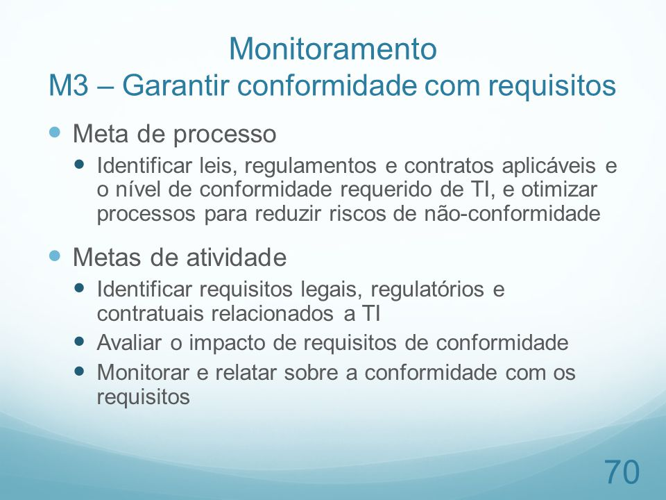 Monitoramento M3 – Garantir conformidade com requisitos