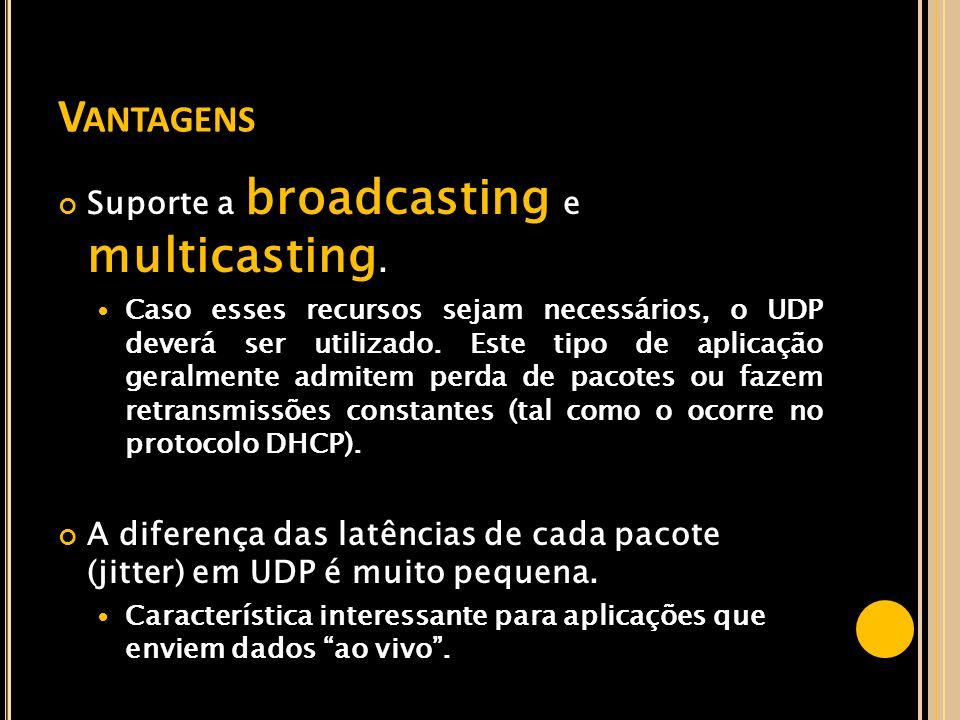 Vantagens Suporte a broadcasting e multicasting.