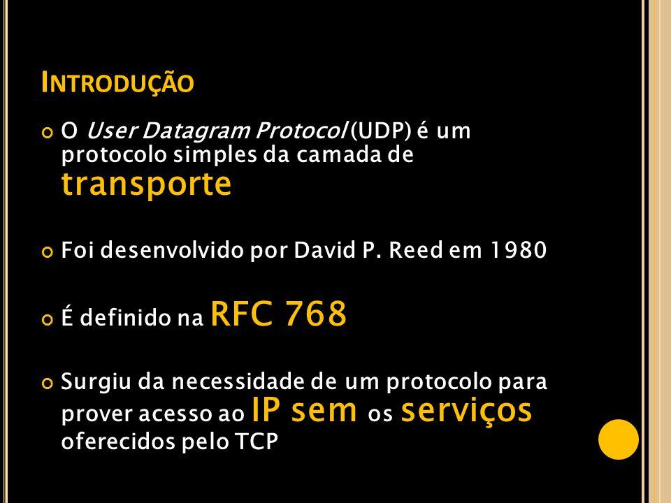 Introdução O User Datagram Protocol (UDP) é um protocolo simples da camada de transporte. Foi desenvolvido por David P. Reed em 1980.