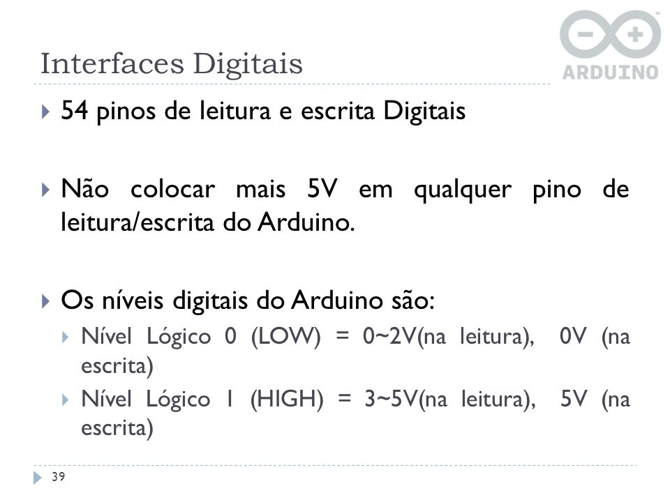 Interfaces Digitais 54 pinos de leitura e escrita Digitais