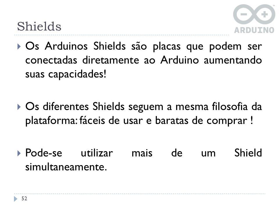 Shields Os Arduinos Shields são placas que podem ser conectadas diretamente ao Arduino aumentando suas capacidades!