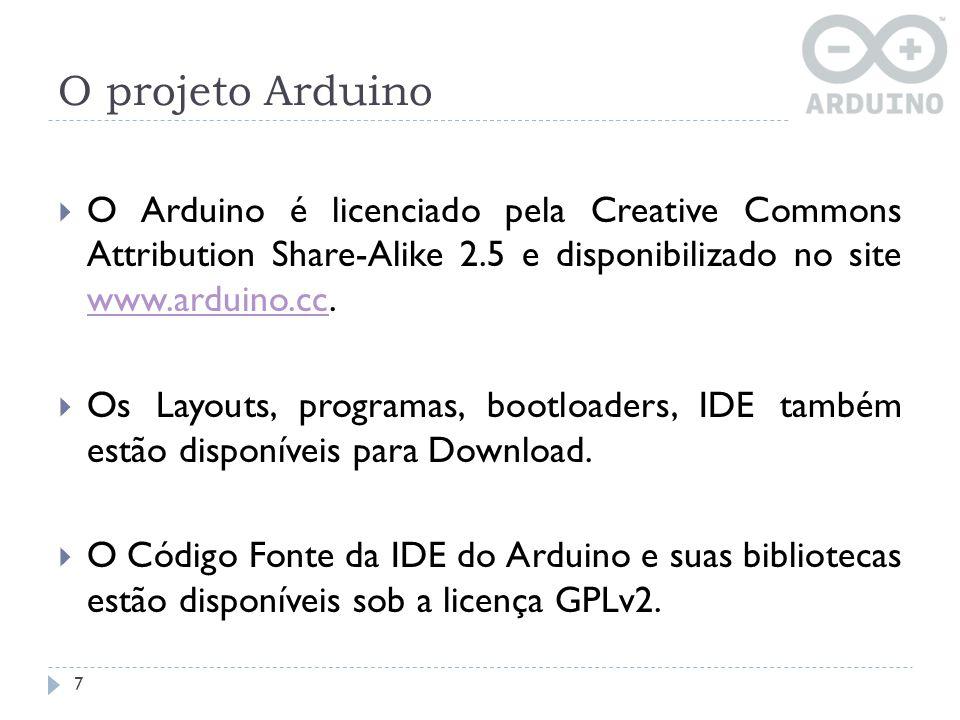O projeto Arduino O Arduino é licenciado pela Creative Commons Attribution Share-Alike 2.5 e disponibilizado no site www.arduino.cc.