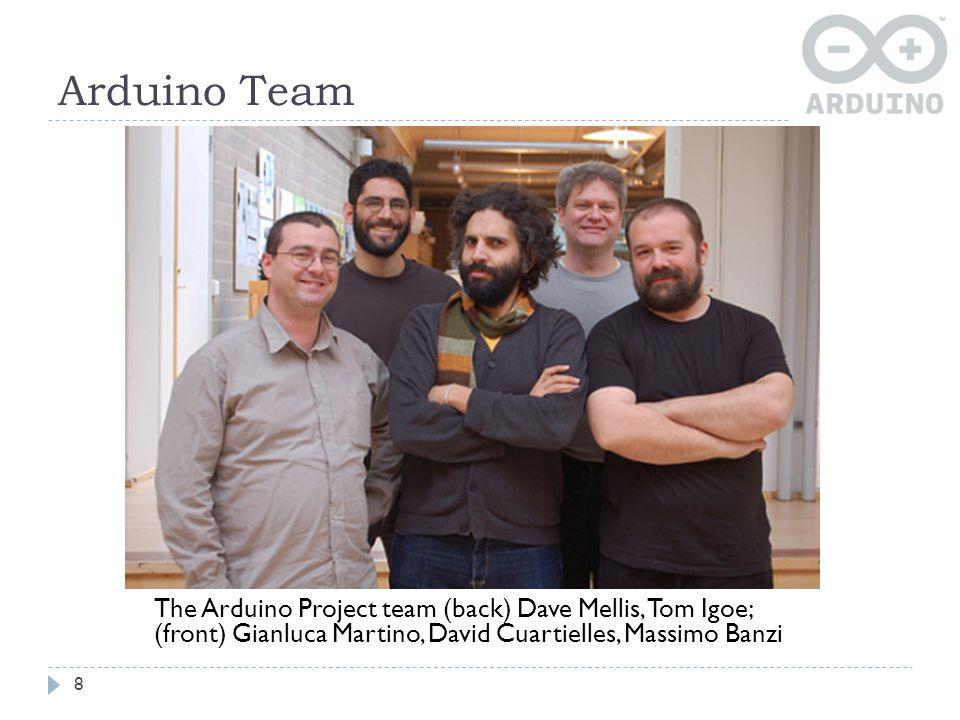 Arduino Team The Arduino Project team (back) Dave Mellis, Tom Igoe; (front) Gianluca Martino, David Cuartielles, Massimo Banzi.