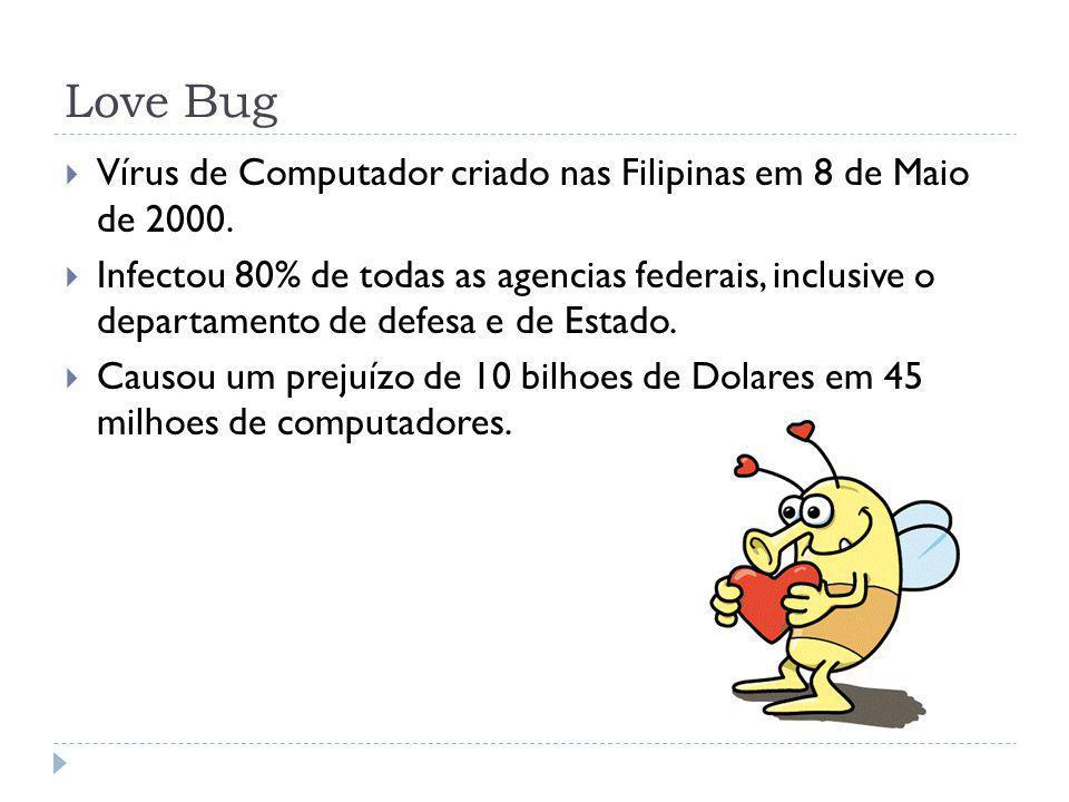 Love Bug Vírus de Computador criado nas Filipinas em 8 de Maio de 2000.