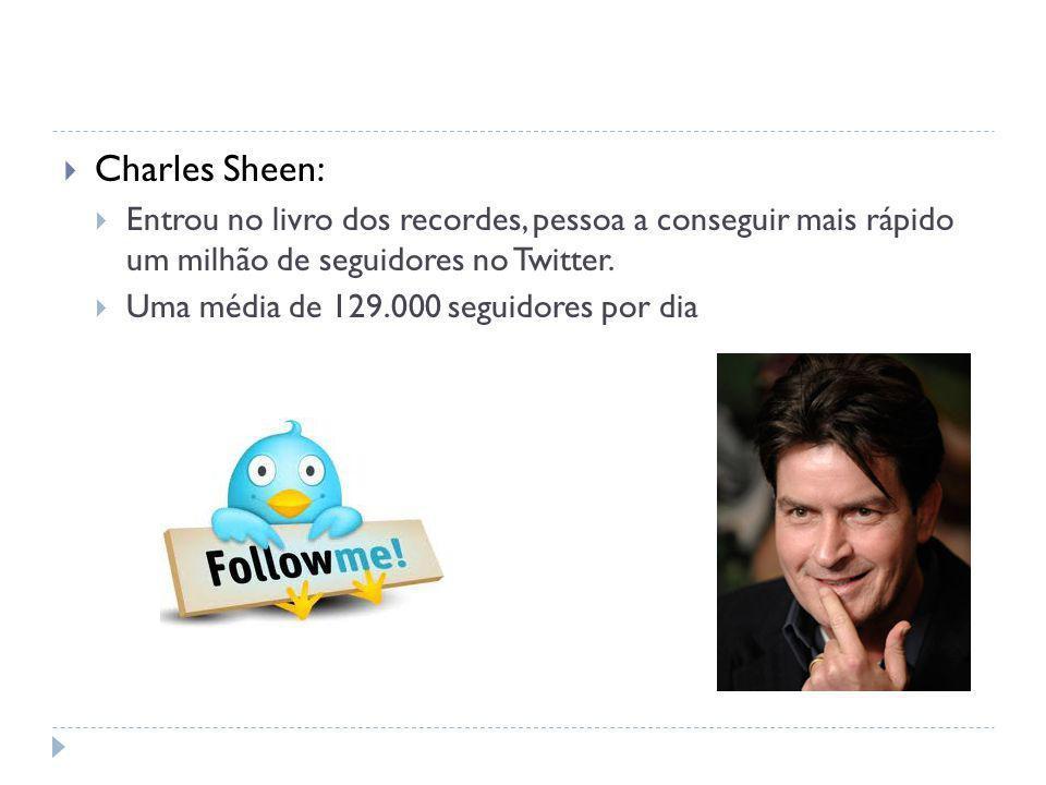 Charles Sheen: Entrou no livro dos recordes, pessoa a conseguir mais rápido um milhão de seguidores no Twitter.