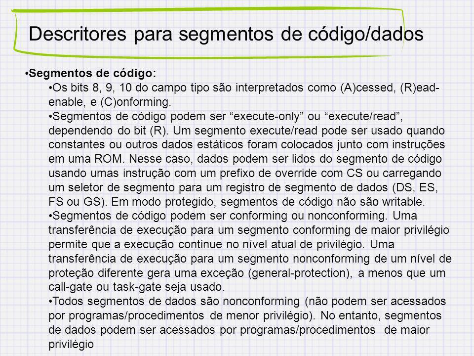 Descritores para segmentos de código/dados