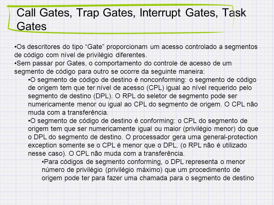 Call Gates, Trap Gates, Interrupt Gates, Task Gates