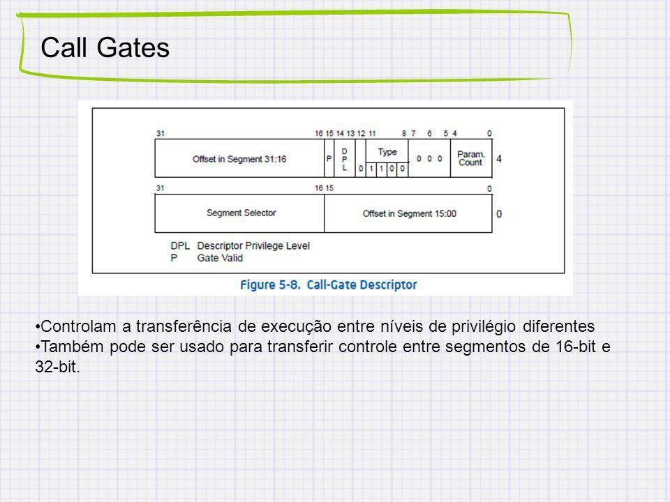 Call Gates Controlam a transferência de execução entre níveis de privilégio diferentes.