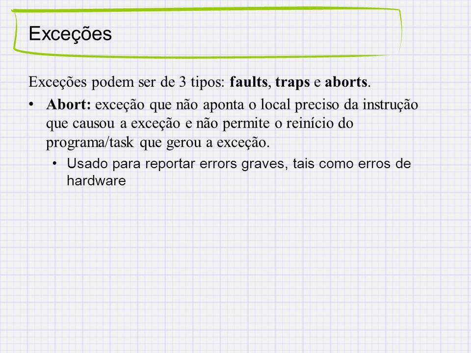 Exceções Exceções podem ser de 3 tipos: faults, traps e aborts.