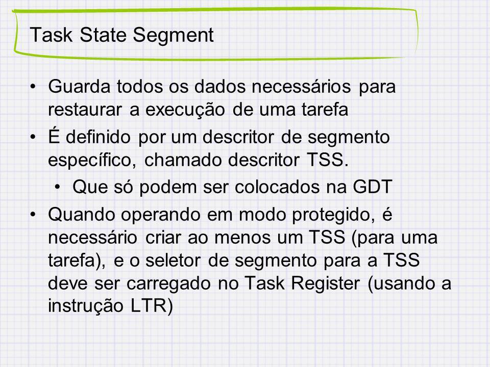 Task State Segment Guarda todos os dados necessários para restaurar a execução de uma tarefa.