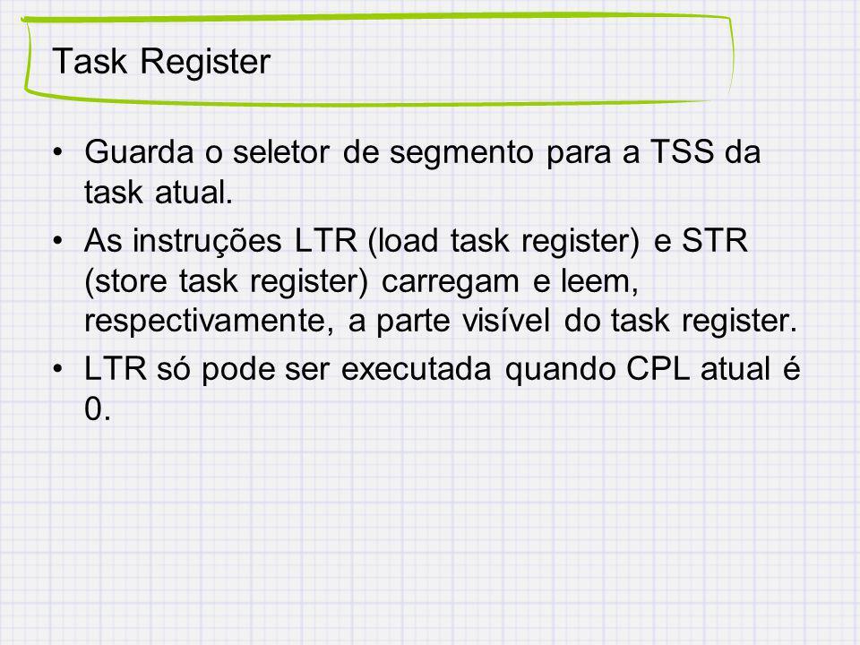 Task Register Guarda o seletor de segmento para a TSS da task atual.