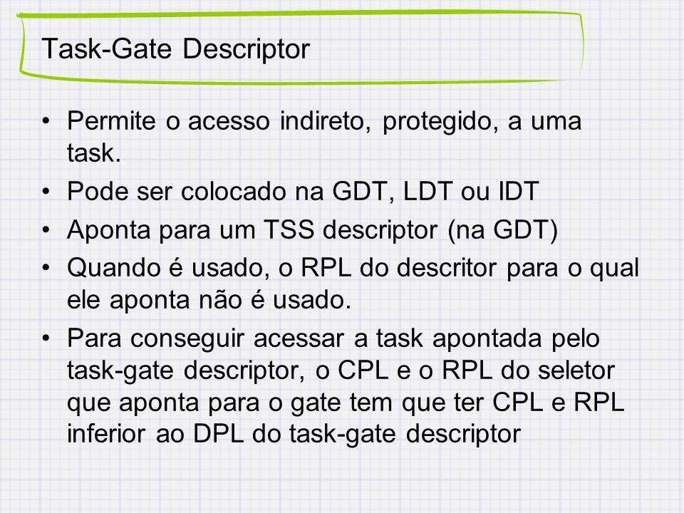 Task-Gate Descriptor Permite o acesso indireto, protegido, a uma task.