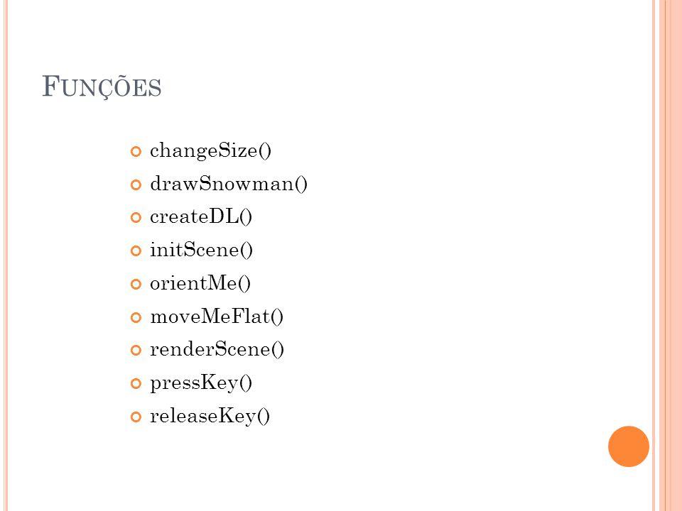 Funções changeSize() drawSnowman() createDL() initScene() orientMe()