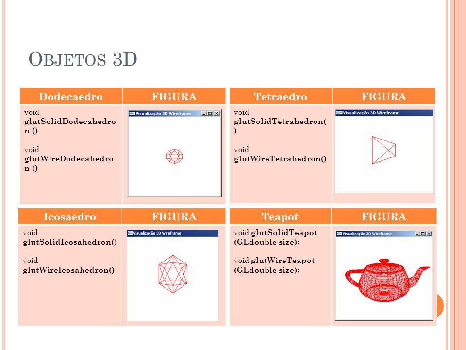 Objetos 3D Dodecaedro FIGURA Tetraedro FIGURA Icosaedro FIGURA Teapot