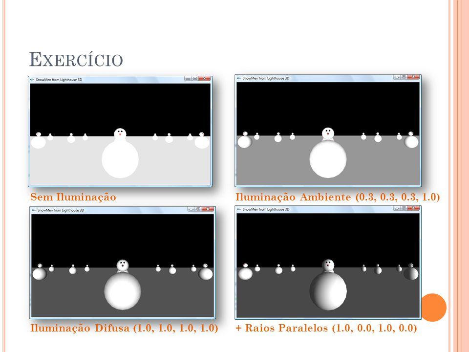 Exercício Sem Iluminação Iluminação Ambiente (0.3, 0.3, 0.3, 1.0)