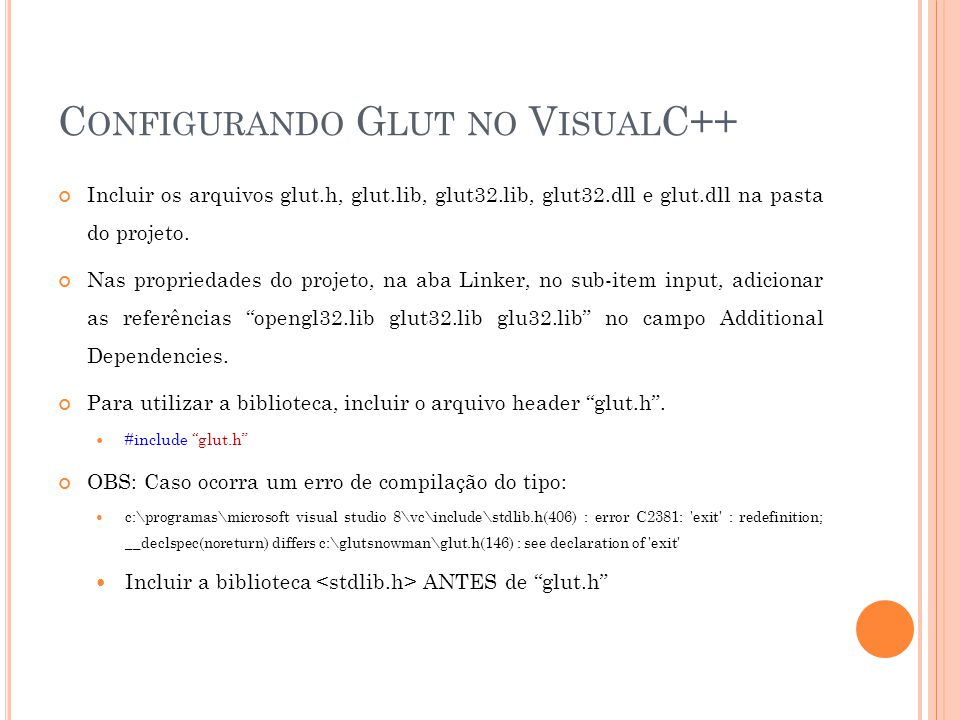 Configurando Glut no VisualC++