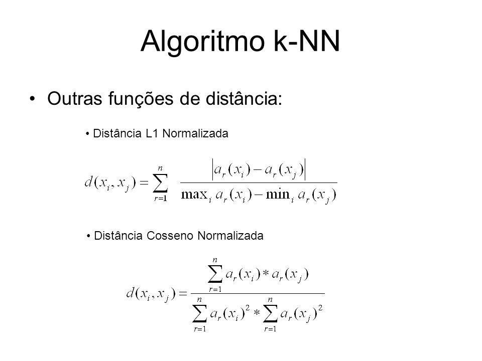 Algoritmo k-NN Outras funções de distância: Distância L1 Normalizada