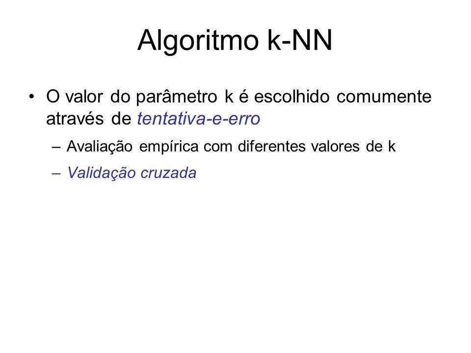Algoritmo k-NN O valor do parâmetro k é escolhido comumente através de tentativa-e-erro. Avaliação empírica com diferentes valores de k.