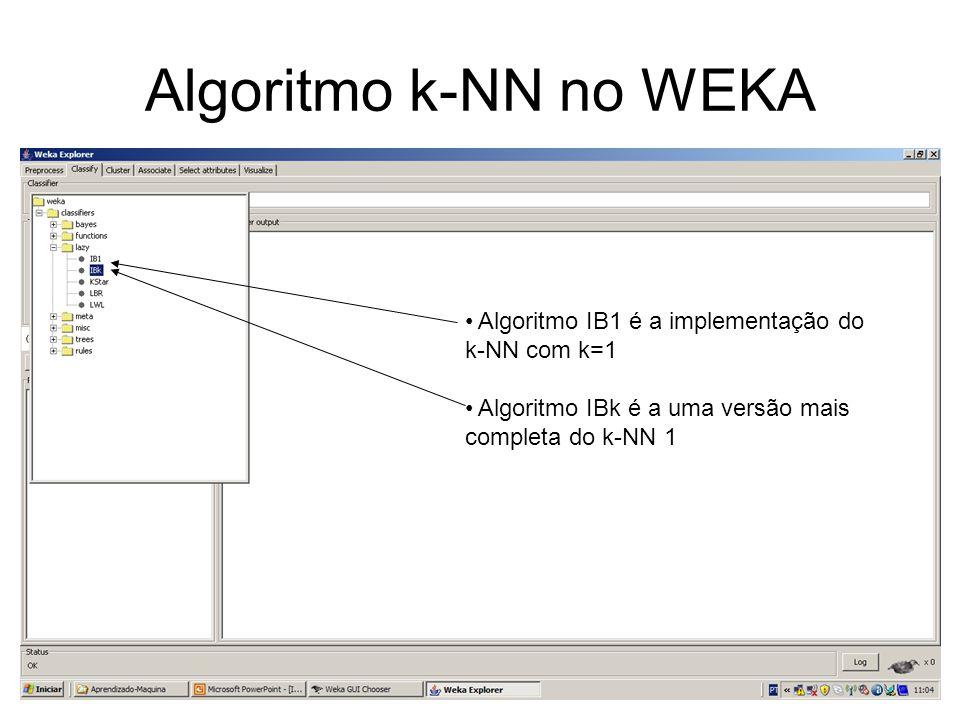 Algoritmo k-NN no WEKA Algoritmo IB1 é a implementação do k-NN com k=1
