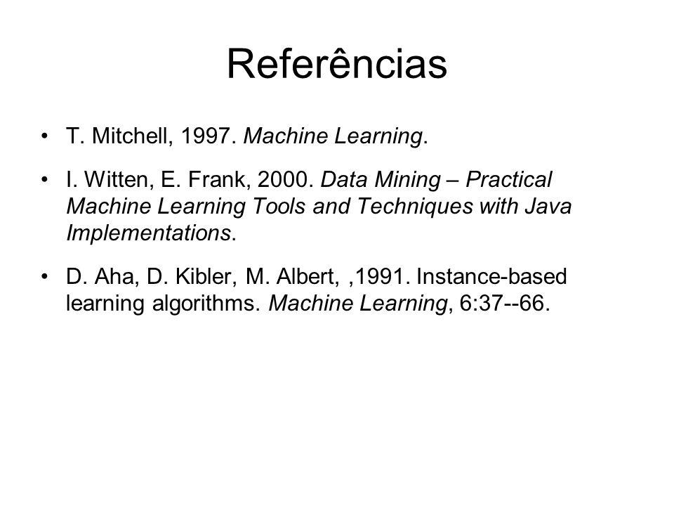Referências T. Mitchell, 1997. Machine Learning.