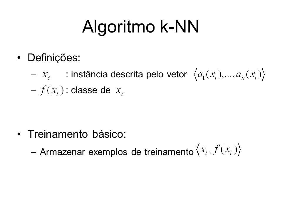 Algoritmo k-NN Definições: Treinamento básico: