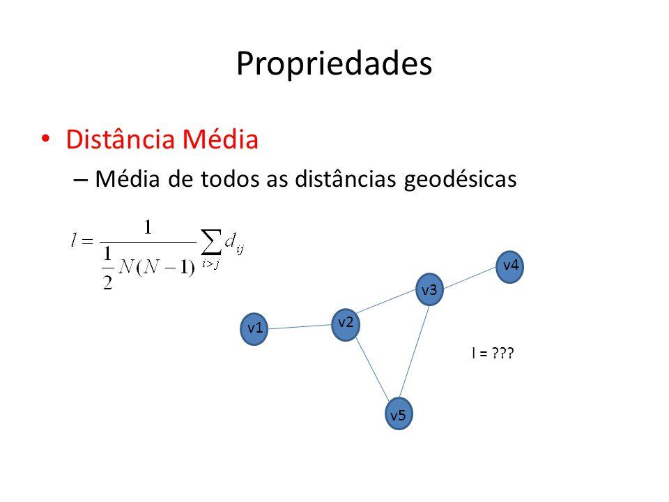 Propriedades Distância Média Média de todos as distâncias geodésicas